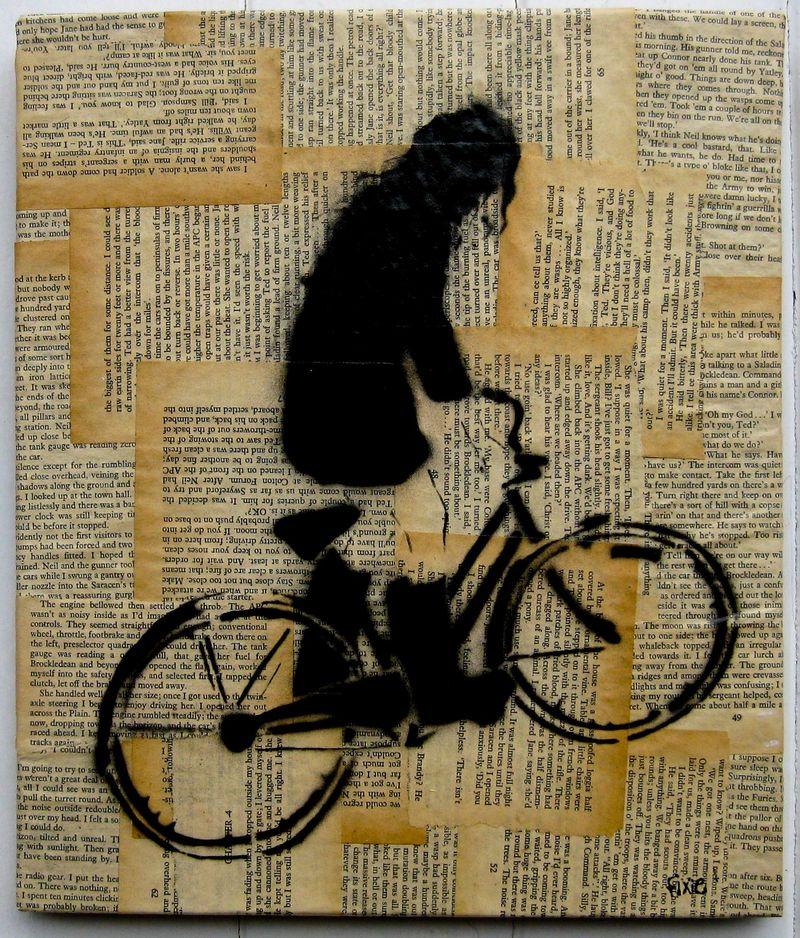 Bike Girl on vintage book collage-3