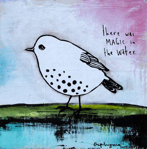 Magic in the water bird - white-2