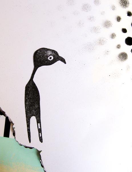 Standing bird stamp