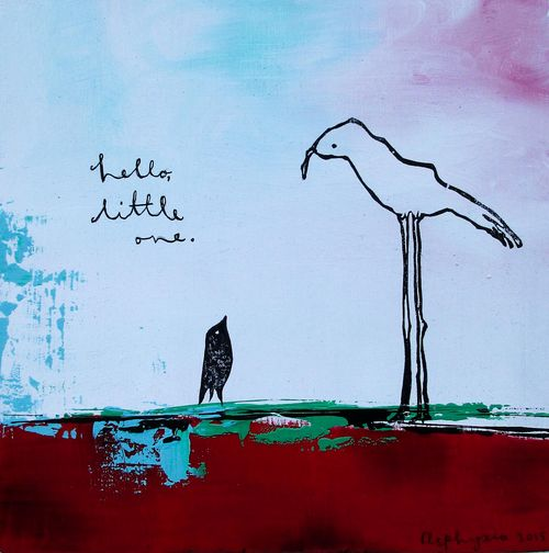 Hello little one - two birds-2